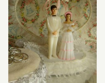 ON SALE One Vintage Wedding Cake Topper With Children