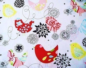 SALE FABRIC - Starling in Natural - Alexander Henry Fabric - 100% Cotton Fabric - Starling Birds Fabric - Starling Fabric - Red, Blue Birds