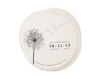 Wedding Letterpress Coasters - Dandelion - Custom Favor Save the Date Decoration Bar Accessory Invitation
