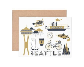 Seattle Letterpress Greeting Card - Blank Card | Greeting Cards |