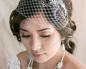 SALE 15% Petite Birdcage Veil with Crystal Brooch, Wedding veil, Bridal Veil, Birdcage Headband, Wedding Hair Accessory