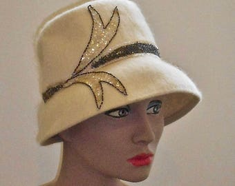 1950s Mohair Felt Cloche Hat with Sequined Aplique
