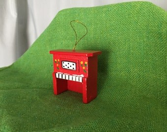 Piano Ornament Red Wooden Christmas Vintage Distressed Holiday Decor Gift Tag