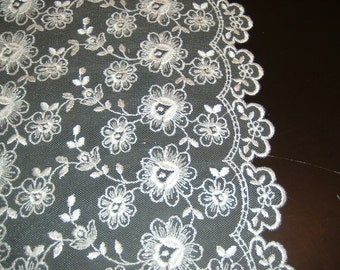2 yds of Bridal white embroidered lace (436)