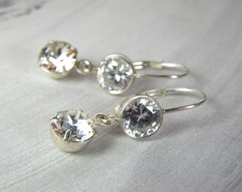 Dainty Dangle Earrings, Clear Swarovski Crystal, Sterling Silver Cubic Zirconia Simple Wedding Bridesmaid Jewelry April Birthday Mothers Day