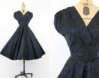 40s Dress Full Skirt XS Small / 1940s Vintage Dress Taffeta / Iridescent Blues Dress