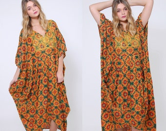 Vintage 80s ETHNIC Caftan EMBROIDERED Boho Caftan PRINTED Hippie Maxi Dress Festival Dress