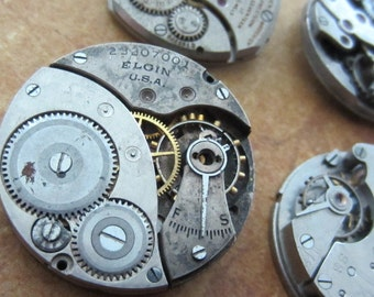 Featured - Steampunk supplies - Watch movements - Vintage Antique Watch movements Steampunk - Scrapbooking b32