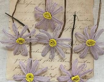 Lavender Glass Beaded Flowers