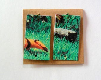 Forest Critter Reclaimed Upcycled Candy Tin Earring Findings Pair