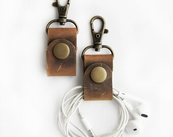 PAIR of Earbud Holder Rustic Brown Leather Cord Keepers Headphone Wrap Cord Wrapper with Clip