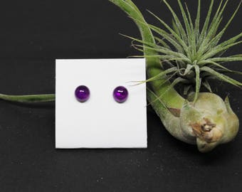 Amethyst Gemstone . SMALL 7mm Round Dome . Sterling Silver Posts Studs Earrings . Deep Purple . E17091