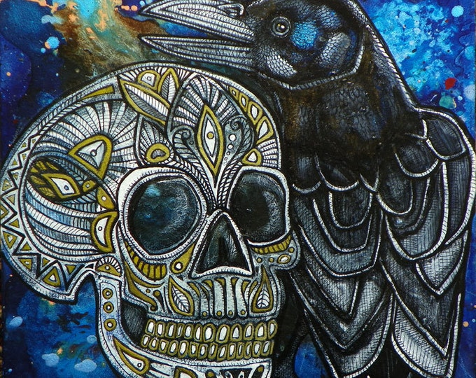 Featured listing image: Raven / Crow / Skull / Halloween Art Painting by Artist Lynnette Shelley