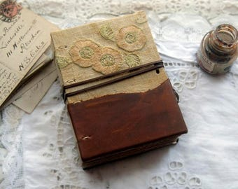 Tea on Sunday - Leather & Vintage Linen Journal, Tea Stained Pages, OOAK