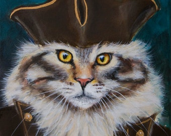 "Pirate Cat, Kitty, Renaissance Maine Coon, Sea Kitty, Ocracoke Island Feral Cats, 8"" x 10"" Original Painting by Clair Hartmann"