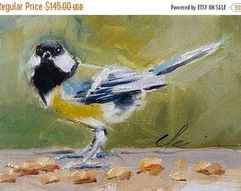 STUDIO SALE Great Tit, Small Yellow, and Black Bird Eating Corn, Songbird - Original Painting by Clair Hartmann