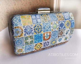 ONe of a Kind Portugal Antique Azulejo Tile Replica Metal Purse Clutch- Majolica 64+ TILES! Mosaic handbag evening