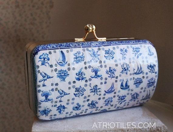 Portugal Antique Azulejo Tile Replica Metal Purse Clutch- 1837  Pasteis de Belem Delft  - OOAK Majolica Porcelain