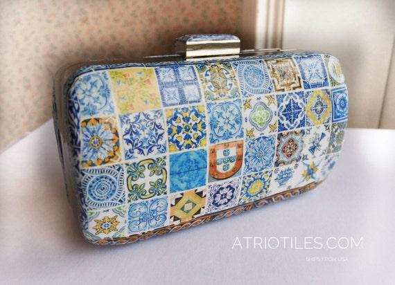 ONe of a Kind Portugal Antique Azulejo Tile Replica Metal Purse Clutch- Majolica 64+ TILES! Mosaic handbag evening