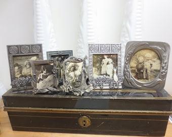 Six Miniature Victorian Style Pewter Desk Frames Vintage 1970s