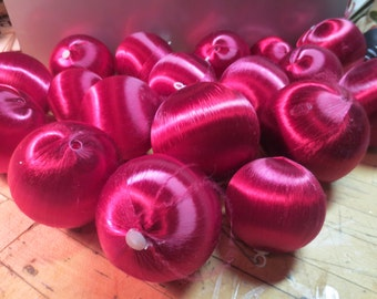"""Vintage Lot of 18 BURGANDY Red satin Christmas Ornaments or balls 3 different sizes 2"""" to 3"""""""