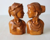 Vintage Retro African Tribal Carved Wood Sculptured Busts Bookends / Man and Women Pair / Large