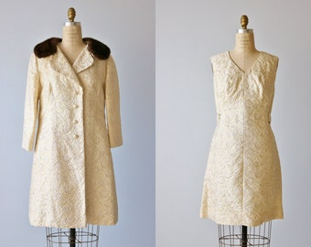 Vintage 1960s Dress and Coat Set / Gold Lame Sheath Dress and Matching Mink Collared Coat