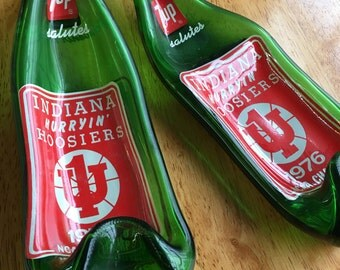 Slumped Melted Soda 7up Bottle Spoon Rest - Indiana University Hoosiers Basketball 1976 Champs