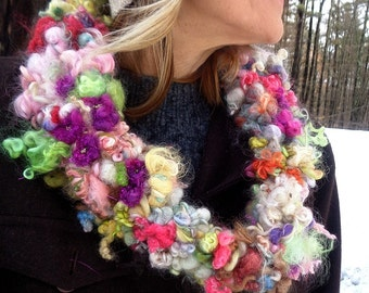 hand knit soft art yarn gypsy flower scarf - magical bloomings collar scarf