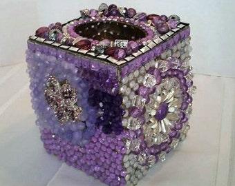 Purple Jewel Encrusted Tissue Box