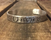 "ALL IN Cleveland Cavaliers Hand Stamped Hammered Texture Adjustable Aluminum Cuff 3/8""x 6"""