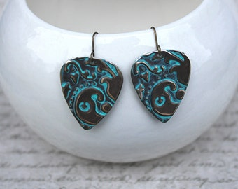 Guitar Pick Earrings, Guitar Pick Jewelry, Music Jewelry, Made to Order, Patina Jewelry, Vintaj Jewelry, Brass Jewelry