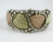 Size 7 1/4 Vintage Tri Color Black Hills Gold Double Leaf Sterling Silver Ring