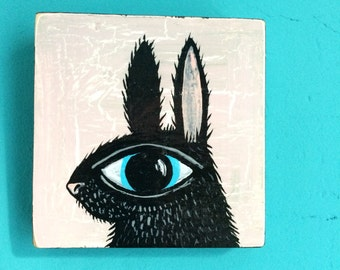 Scrap of Wood with Big Eyed Bunny