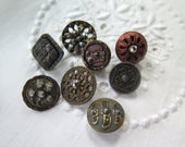 Antique Button Collection of 8 Buttons in Metal and Cut Steel Assorted Sizes