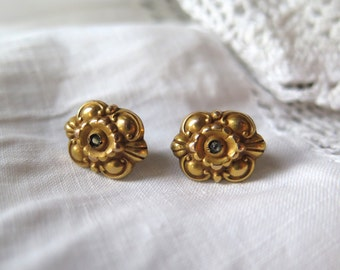 Repousse Rhinestone Earrings Post Style Brass with Gold Wash