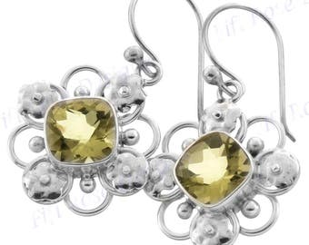 "13/16"" Design Lemon Quartz 925 Sterling Silver Earrings"
