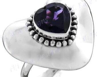 Heart Amethyst Gemstone 925 Sterling Silver Sz 6 Ring