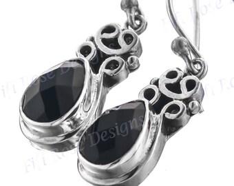 """13/16"""" Teardrop Onyx 925 Sterling Silver Earrings"""