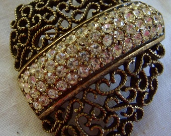 Vintage Shield Filigree & Rhinestone Brooch Pin Unsigned