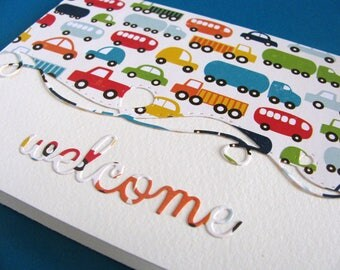 Cars & Trucks Swirly Border on Creamy Ivory Card / Transportation, Boys / Teal, Orange, Red, Yellow, Blue / A2 Size / Ready to Ship