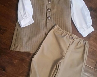 3pc Boy's Colonial Costume set size 5/6 READY TO SHIP