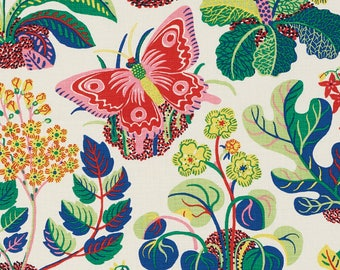 Schumacher Exotic Butterfly in Spring Color Way / By The Yard / Pillow Fabric Linen Fabric / Drapery Fabric /