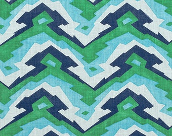 Thibaut Designer Pillow Cover in Deco Mountain in Blue/Green / Made To Order