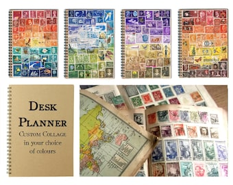 Upcycled Monthly Planner | Postage Stamp Desk Diary, Undated Bullet Journal, Dot Grid Notebook | Recycled Stamp Art Collage, Custom Colours