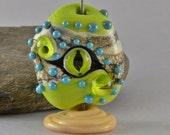 RESERVED EYE bead, glass green eye bead, seeing eye bead,  Izzybeads SRA