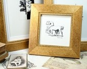 5x5 inch Gold Photo Frame with soft semi-mat waxed patina - suits both Cottage and Contemporary styles or  Office decor