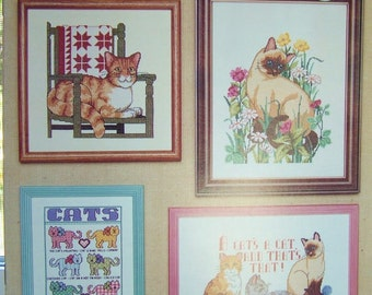 Cats Cross Stitch Pattern Book, Needlework Pattern, Kittens, Cat Lover, Playful Kittens Counted Cross Stitch Sampler Pattern