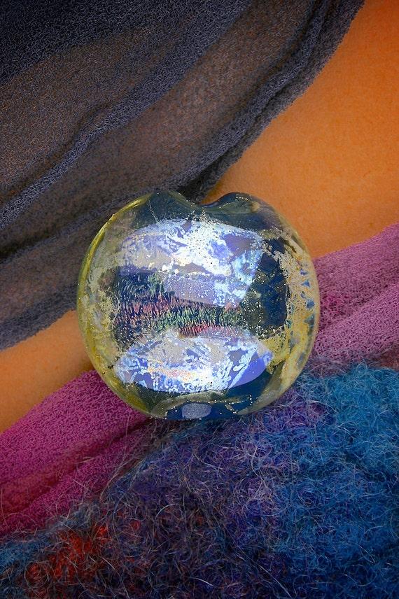 "Lampwork Beads SRA ""Aquarius"" Handmade Dichroic Glass Focal Bead Lentil Fine Silver Lustre"