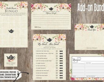 Tea Party Bridal Shower Add On Accessories | Bridal Shower Games - Recipe Card - Advice for Bride - Bingo - Favor Tag - He Said She Said